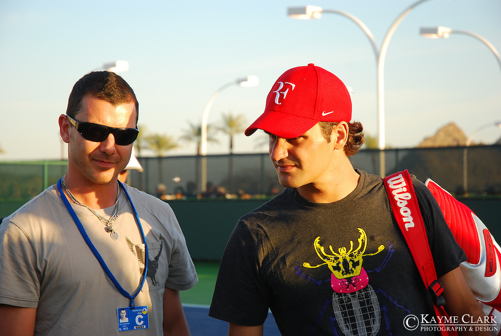 Gavin Rossdale and Roger Federer, Switzerland, ATP Player, Pacific Life Open Tennis Tournament, Indian Wells Tennis Garden, California, United States