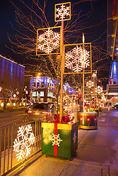 North America, United States, Washington, Bellevue, Snowflake Lane holiday celebration in downtown Bellevue