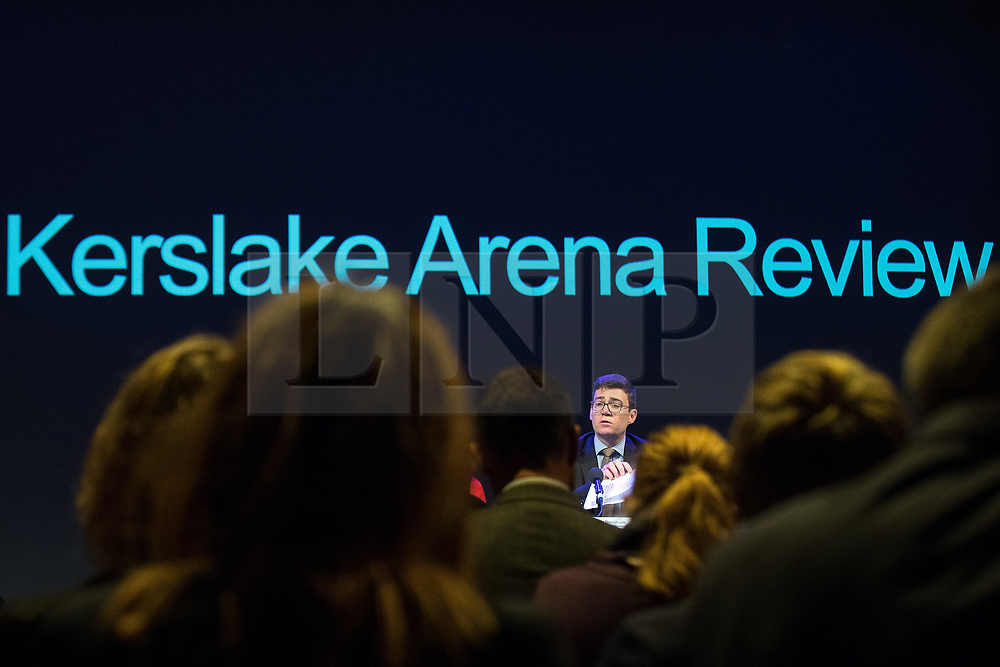 © Licensed to London News Pictures. 27/03/2018. Salford, UK. Mayor of Greater Manchester ANDY BURNHAM . The Kerslake Report in to the terrorist bombing of an Ariana Grande concert at the Manchester Arena on 22nd May 2017 , ordered by Greater Manchester Metro Mayor Andy Burnham , is published at a press conference at the University of Salford , at Media City . Amongst praise for many connected with the events, the report also highlights failings in communication at Greater Manchester Fire and Rescue on the night and disreputable behaviour by some sections of the media in the aftermath of the attack . Photo credit: Joel Goodman/LNP