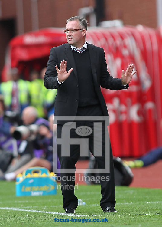 Paul Lambert, manager of Aston Villa, on the touchline during the Barclays Premier League match against Stoke City at the Britannia Stadium, Stoke-on-Trent.<br /> Picture by Michael Sedgwick/Focus Images Ltd +44 7900 363072<br /> 16/08/2014