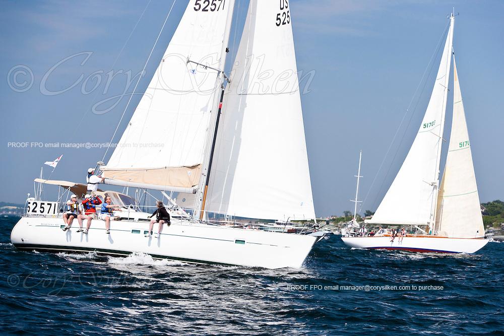 Attitude, class 11, sailing at the start of the Newport Bermuda Race 2010. The race began in Newport, Rhode Island on June 18, 2010.