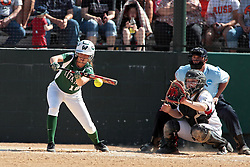 09 May 2014:  Hannah Bowen bats, Maddie Dieleman catches during an NCAA Division III women's softball championship series game between the Lake Forest Foresters and the Illinois Wesleyan Titans in Bloomington IL