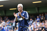 Ipswich Town manager Mick McCarthy applauds during the Sky Bet Championship match between Ipswich Town and Brighton and Hove Albion at Portman Road, Ipswich, England on 29 August 2015.