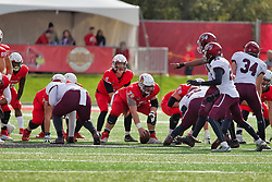 NORMAL, IL - October 13: Brady Davis lines up behind center Garrett Hirsch during a college football game between the ISU (Illinois State University) Redbirds and the Southern Illinois Salukis on October 13 2018 at Hancock Stadium in Normal, IL. (Photo by Alan Look)