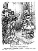 """Unrelieved Cheerfulness. Mr Neville Chamberlain (directing his film """"Tax Appeal""""). """"Splendid, John! Hold that smile a bit longer."""" (John Bull is restrained by his Income Tax straps)"""