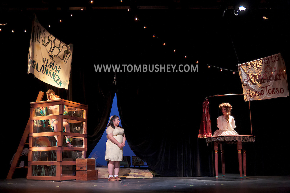 "Middletown, New York - Students from The Apprentice Players of the SUNY Orange Arts & Communications Department in a dress rehearsal of ""Freakshow""at Orange Hall Theatre on April 17, 2014."