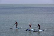 Paddle boarding in Folkestone Harbour.