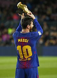 December 17, 2017 - Barcelona, Catalonia, Spain - Leo Messi offers the golden boot to the supporters during the La Liga match between FC Barcelona v Real Club Deportivo de La Coruna, in Barcelona, on December 17, 2017. (Credit Image: © Joan Valls/NurPhoto via ZUMA Press)