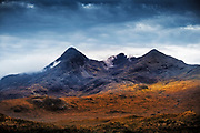 A dark sky over the Cuillin mountains on the Isle of Skye.
