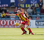 12th May 2018, Dens Park, Dundee, Scotland; Scottish Premier League football, Dundee versus Partick Thistle; Conor Sammon of Partick Thistle holds off Cammy Kerr of Dundee