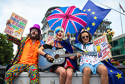 © Licensed to London News Pictures. 20/07/2019. London, UK. Anti-Brexit protesters singing at the start of the March for Change in London. Photo credit: Rob Pinney/LNP