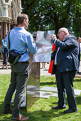 London, UK. 6 June, 2019. Lord Pickles, co-chair of the UK Holocaust Memorial Fund, selects bronze and limestone for the UK Holocaust Memorial and Learning Centre in Victoria Tower Gardens beside Parliament with Asa Bruno, Director of Ron Arad Architects. The Prime Minister recently led cross-party support for the new memorial.