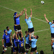 Will Caldwell wins a line out from Sam Wykes during the Super 14 match between the Waratahs and the Western Force at the Sydney Football Stadium, Sydney, Australia on April 18, 2009.  Photo Tim Clayton