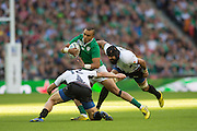 Wembley, Great Britain,  Simon Zebo Run comes to an end  during the Pool D Game, Ireland vs Romania.  2015 Rugby World Cup, Venue, Wembley Stadium, London, ENGLAND.  Sunday  27/09/2015 <br /> <br /> Mandatory Credit; Peter Spurrier/Intersport-images]