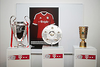 Fussball  DFB  POKAL  FINALE  SAISON  2012/2013     Champions Party des FC Bayern Muenchen nach dem Gewinn des DFB Pokal und Triple         02.06.2013 Gruppenbild der Pokale, CHL Pokal, Meisterschale und DFB Pokal (v.li.)