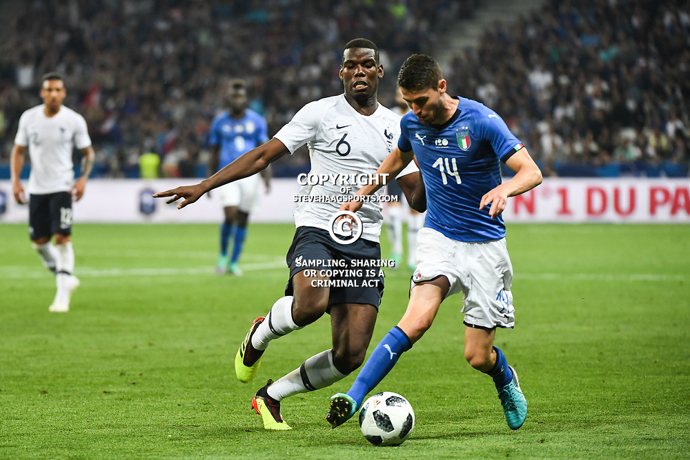 Paul Pogba of France and Jorge Luiz Jorginho of Italy during the International Friendly match between France and Italy at Allianz Riviera Stadium on June 1, 2018 in Nice, France. (Photo by Anthony Dibon/Icon Sport)