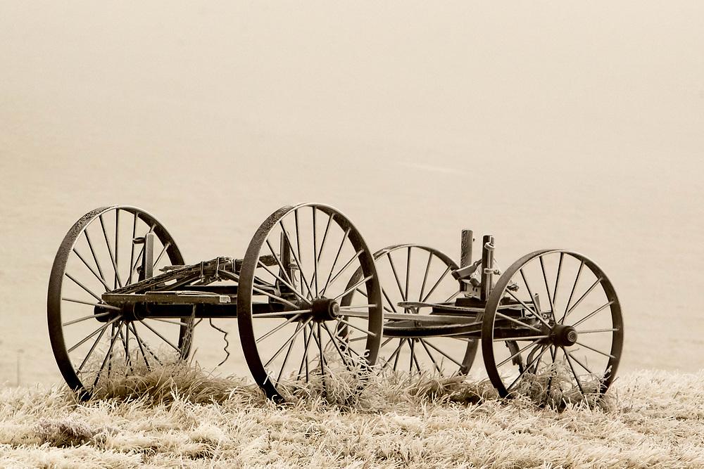 A frosty wagon near Hillsdale, Wyoming, on Friday, Feb. 9, 2018.