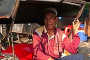 Becak driver in Jakarta, Java, Indonesia