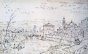 View of Padua with the Porta Pontecorvo and the Church of Santa Maria Giustina. Pen, black ink and traces of crayon. Bernardo Bellotta (1720-1780) Italian painter. Italy Padova City Gate