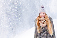 Woman, Beauty, Snowfall, Warm Clothing, Winter