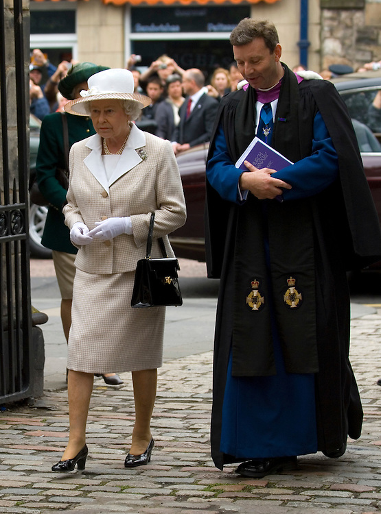 Her Majesty Queen Elizabeth II goes to Sunday Service at Canongate in Edinburgh amid heavy security after last night events in Glasgow