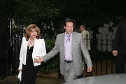 JOAN COLLINS AND PERCY GIBSON, Sir David and Lady Carina Frost annual summer party, Carlyle Sq. London. 5 July 2007  -DO NOT ARCHIVE-© Copyright Photograph by Dafydd Jones. 248 Clapham Rd. London SW9 0PZ. Tel 0207 820 0771. www.dafjones.com.