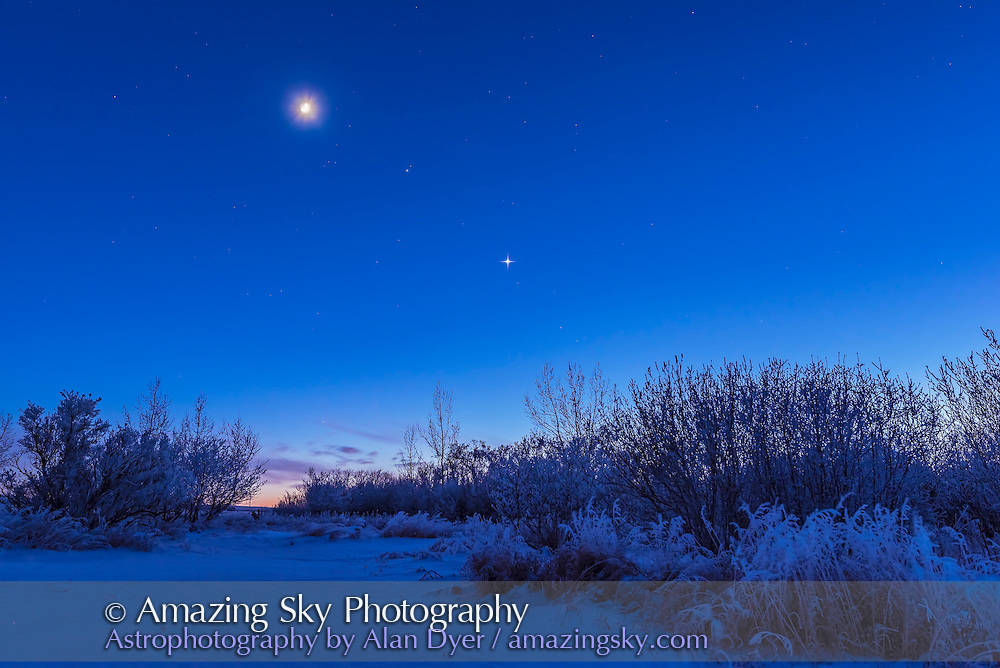 Venus (brightest), Mars (between the Moon and Venus), and the waxing cresent Moon over a frosty scene at my property in southern Alberta. On a cold -20&deg; C night January 3, 2017.<br /> <br /> This is an HDR stack of 5 exposures at 1-stop increments with the 24mm lens and Nikon D750. Diffraction spikes added with Astronomy Tools actions.