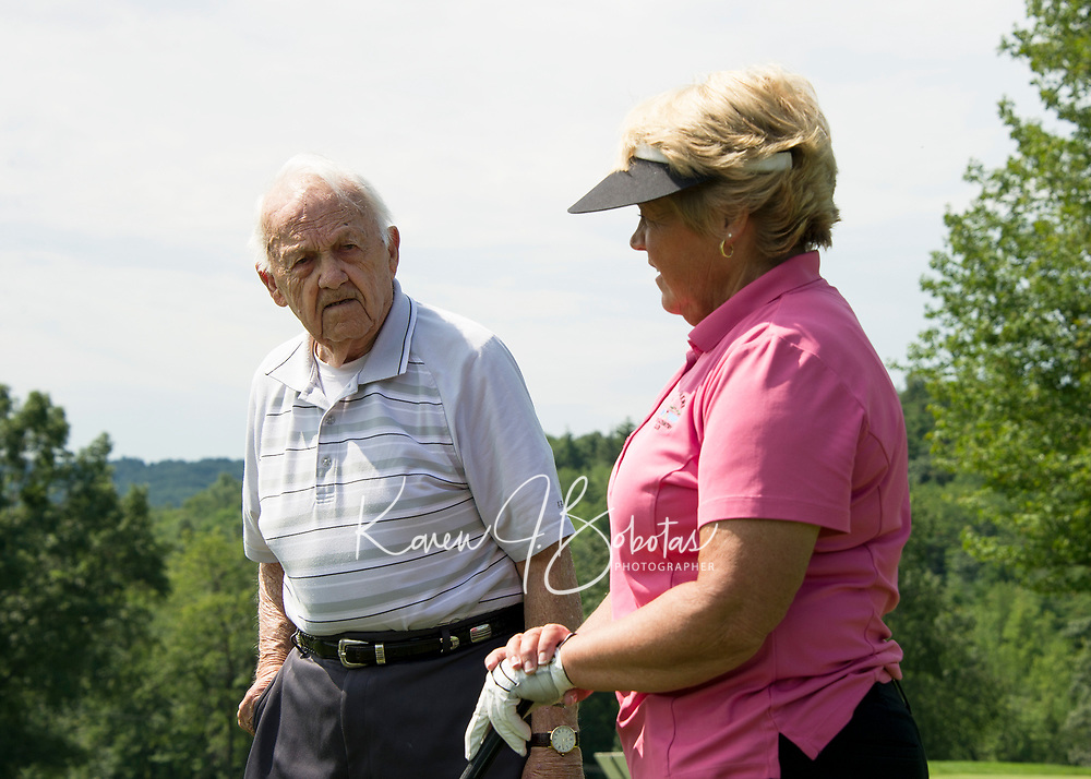 Phillip Roy's love of golf began as a young caddy at Alpine in Lincoln, NH which he passed on to his daughter Dale Nims who has been playing in the State Am consecutively for 50 years.    (Karen Bobotas/for the Laconia Daily Sun)