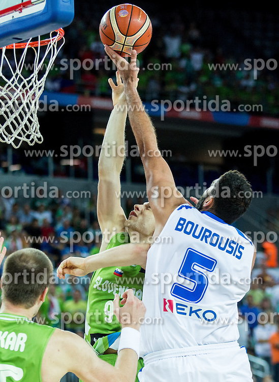 Jaka Blazic of Slovenia vs Yannis Bourousis of Greece during basketball match between Slovenia vs Greece at Day 5 in Group C of FIBA Europe Eurobasket 2015, on September 9, 2015, in Arena Zagreb, Croatia. Photo by Vid Ponikvar / Sportida