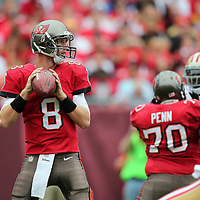 Tampa Bay Buccaneers quarterback Mike Glennon (8) is seen during an NFL football game between the San Francisco 49ers  and the Tampa Bay Buccaneers on Sunday, December 15, 2013 at Raymond James Stadium in Tampa, Florida.. (Photo/Alex Menendez)