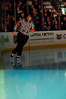 KELOWNA, BC - NOVEMBER 30: Referee Steve Papp enters the ice at the Kelowna Rockets against the Prince George Cougars for his 650th game as a WHL referee at Prospera Place on November 30, 2019 in Kelowna, Canada. (Photo by Marissa Baecker/Shoot the Breeze)