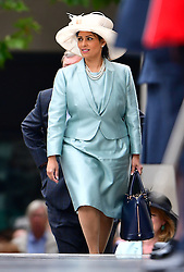 © Licensed to London News Pictures. 10/06/2016. London, UK. Minister of State for Employment, Priti Patel, arrives at St Paul's Cathedral for a service of thanksgiving to mark the 90th birthday of Queen Elizabeth II. Photo credit: Ben Cawthra/LNP