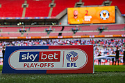 A general view inside Wembley stadium of the Sky Bet EFL sign during the EFL Sky Bet League 2 Play Off Final match between Newport County and Tranmere Rovers at Wembley Stadium, London, England on 25 May 2019.
