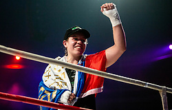 Ema Kozin of Slovenia celebrates after winning against Maria Lindberg of Sweden during their WBC, IBO, IBA, WBF and WIBA supermiddleweight World Championship titles fight, on October 6, 2019 in Arena Stozice, Ljubljana, Slovenia. Photo by Vid Ponikvar / Sportida