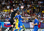 LUBLIN, POLAND - 2017-06-22: Adrian Chovan r&auml;ddar under UEFA U21 matchen mellan Slovakien och Sverige p&aring;  Arena Lublin den 22 juni, 2017 i Lublin, Polen. <br /> Foto: Nils Petter Nilsson/Ombrello<br /> Fri anv&auml;ndning f&ouml;r kunder som k&ouml;pt U21-paketet.<br /> Annars Betalbild.<br /> ***BETALBILD***