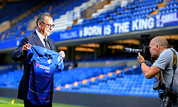 New Chelsea manager Maurizio Sarri is photographed following press conference at Stamford Bridge, London.