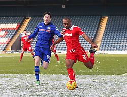 Rochdale's Ian Henderson & Crawley Town's Lanre Oyebanjo  - Photo mandatory by-line: Matt McNulty/JMP - Mobile: 07966 386802 - 17.01.2015 - SPORT - Football - Rochdale - Spotland Stadium - Rochdale v Crawley Town - Sky Bet League One