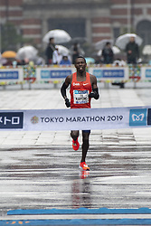 March 3, 2019 - Tokyo, Tokyo, Japan - Karoki Bedan (KEN) crosses the finish line to take the second place in the men's race of the Tokyo, Japan, March 3, 2019. Some 38,000 runners participated in the thirteenth edition of the Tokyo Marathon, one of the six World Marathon Majors. (Credit Image: © Alessandro Di Ciommo/NurPhoto via ZUMA Press)