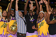 London Lions celebrate wining  the Betway British Basketball All-Stars Championship at the O2 Arena, London, United Kingdom on 24 September 2017. Photo by Martin Cole.