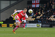 Fleetwood Town forward David Ball strikes at goal during the Sky Bet League 1 match between Burton Albion and Fleetwood Town at the Pirelli Stadium, Burton upon Trent, England on 12 March 2016. Photo by Aaron  Lupton.