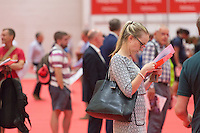 LONDON UK 28TH JULY 2016:  Visitors on the opening day . The Prudential RideLondon Cycling Show at the Excel Centre. Prudential RideLondon in London 29th July 2016<br /> <br /> Photo: Neil Turner/Silverhub for Prudential RideLondon<br /> <br /> Prudential RideLondon is the world's greatest festival of cycling, involving 95,000+ cyclists – from Olympic champions to a free family fun ride - riding in events over closed roads in London and Surrey over the weekend of 29th to 31st July 2016. <br /> <br /> See www.PrudentialRideLondon.co.uk for more.<br /> <br /> For further information: media@londonmarathonevents.co.uk