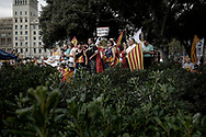 Pro-Union demonstration on Spanish National Day 2017 in Barcelona after Catalan separatist government declared independence.  October 12, 2017 in Barcelona, Spain.