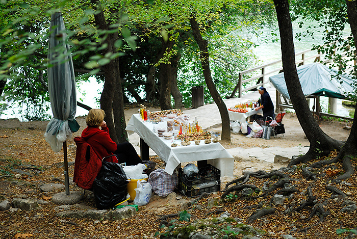 Local women with stalls selling produce, Krka National Park, Croatia