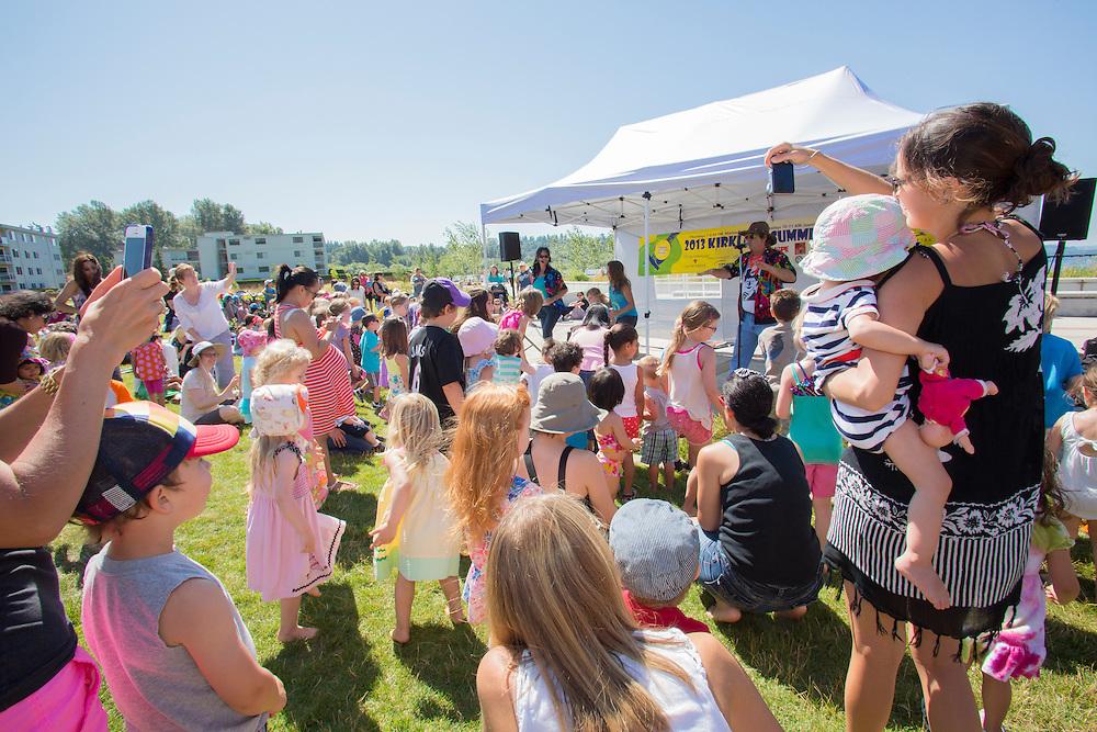 United States, Washington, Kirkland, concert for children in Juanita Beach Park