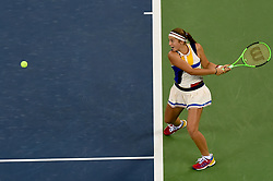 WUHAN, Sept. 28,  2017 Jelena Ostapenko of Latvia returns the ball during the singles quarterfinal match against Garbine Muguruza of Spain at 2017 WTA Wuhan Open in Wuhan, capital of central China's Hubei Province, on Sept. 28, 2017. (Credit Image: © Ou Dongqu/Xinhua via ZUMA Wire)