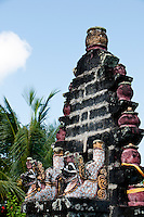 Dragon altar at an old temple on the slopes of Mt Agung in Bali, Indonesia