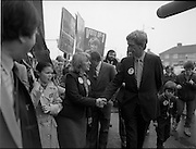 15/05/1982<br /> 05/15/1982<br /> 15 May 1982<br /> An Taoiseach, Mr Charles Haughey, canvasing with Fianna Fail bye-election candidate Eileen Lemass in Dublin West. Image shows Eileen Lemass and Bobby Molloy in Ballyfermot.