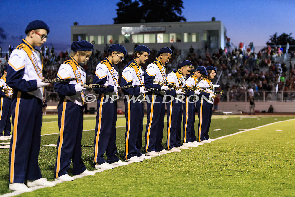 August 25, 2016: Norwalk Truckers Marching Band readies for their halftime show during the Thursday Night Season Opener game between the Norwalk Truckers vs Port Clinton Redskins at the Tru-Lay Stadium in Port Clinton, Ohio. FINAL: Norwalk 17 vs. Port Clinton 28