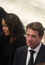 Nice's mayor Christian Estrosi and Laura Tenoudji arrive before Pope Francis receives family members of the victims of the Bastille Day terror attacks in Nice, France, renewing his condolences and promises of prayer for their healing and for the souls of their loved-ones. On 14 July 2016, a 19 tonne cargo truck was deliberately driven into crowds celebrating Bastille Day on the Promenade des Anglais in Nice, France, resulting in the death of 86 people and injuring 434. The pope denounced violence in the name of religion, at the Vatican on September 24, 2016. Photo by Eric Vandeville/ABACAPRESS.COM