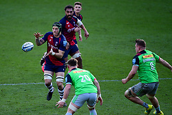 Jake Heenan of Bristol Bears is marked by Will Evans of Harlequins and Alex Dombrandt of Harlequins - Mandatory by-line: Ryan Hiscott/JMP - 08/03/2020 - RUGBY - Ashton Gate - Bristol, England - Bristol Bears v Harlequins - Gallagher Premiership Rugby